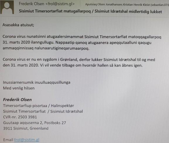 Sisimiut Timersortarfiat midlertidig lukket